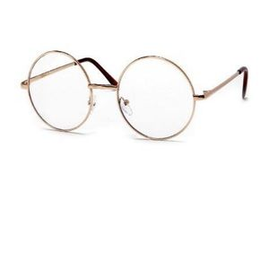 Vintage Lennon Inspired Gold Round 51MM Clear Lens